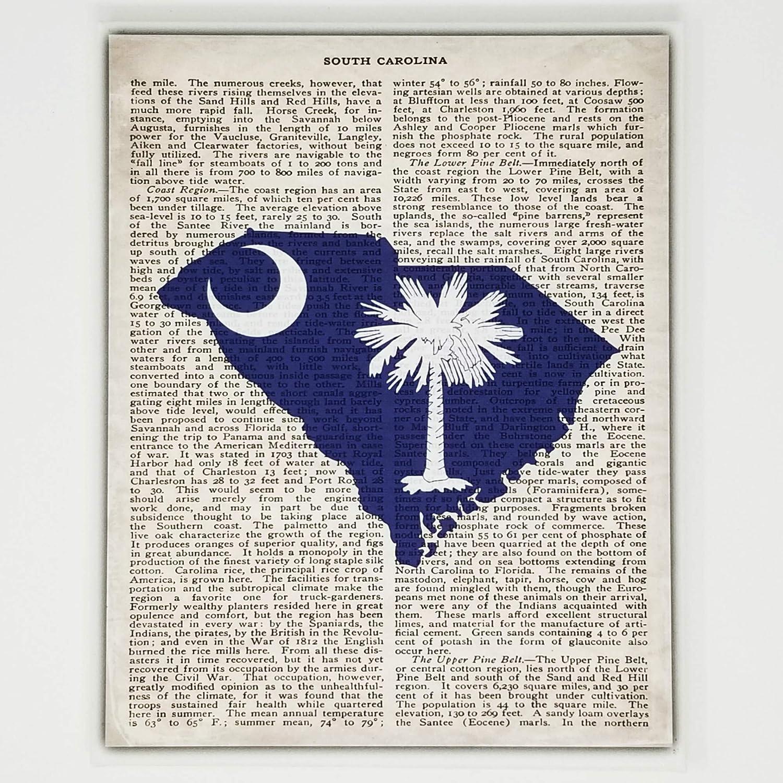 South Carolina Flag Canvas Wall Decor - 8x10 Decorative SC State Map Silhouette Encyclopedia Art Print - Ready To Hang - Home State Love Handmade Gifts - Carolina Decorations