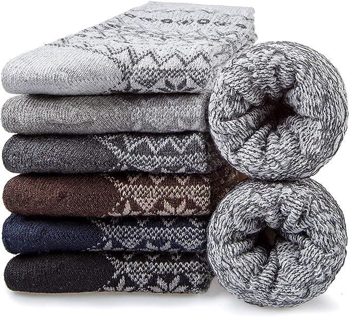 6 Pairs Mens Wool Socks Warm Thermal Winter Socks Men