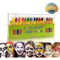 GiBot Pintura Facial y corporales, 16 Colores Pintura Corporal y Facial Body Paint, Maquillaje Carnival Set para niño, no tóxico, Easy on y Off