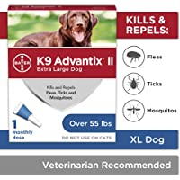 Bayer K9 Advantix II Flea, Tick and Mosquito Prevention for X-Large Dogs, Over 55 lbs