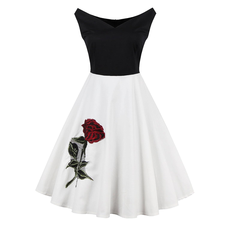 iPretty elegant Damen Sommerkleid tief V-Ausschnitt Rockkleid ...