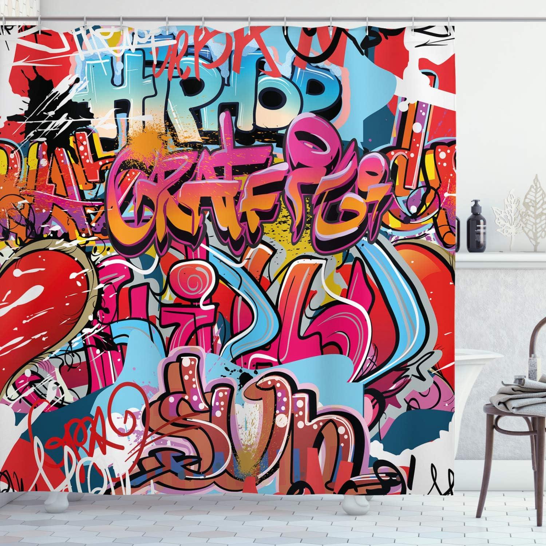 Ambesonne Graphic Shower Curtain, Hip Hop Street Culture Harlem New York City Wall Graffiti Art Spray Artwork Image, Cloth Fabric Bathroom Decor Set with Hooks, 84