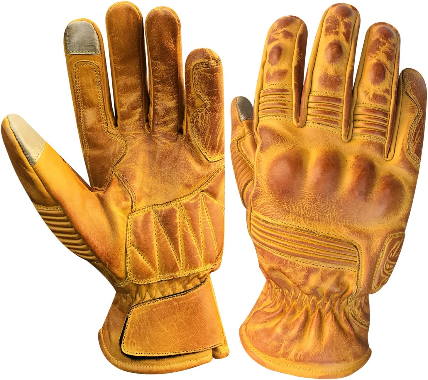 9008-Tan, XXL Prime all season motorbike sports racing Kevlar waxed leather gloves with I touch Finger 9008