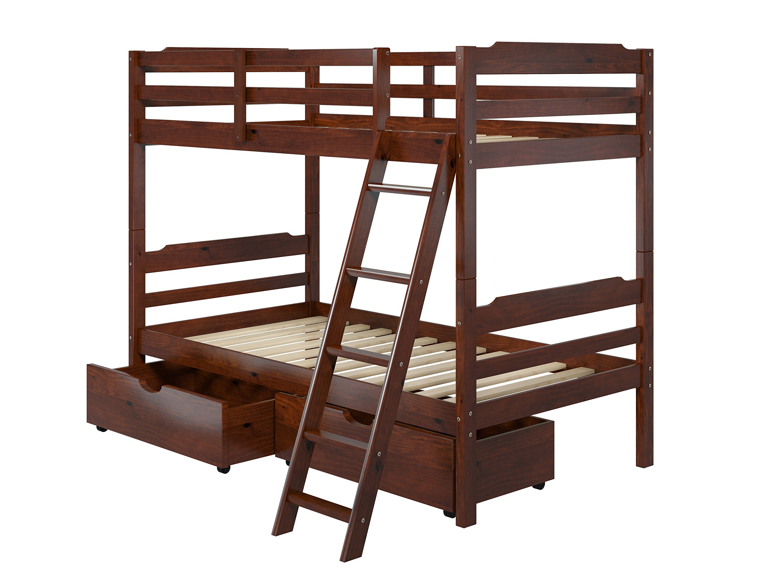 Manhattan Comfort Hayden 4.0 Collection Solid Pine Wood Twin Size Convertible Children's Bunk Bed Set with Storage Drawers, Twin, Matte Brown