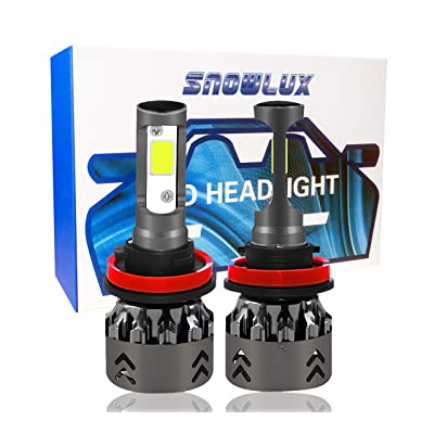 Snowlux H11 Mini LED Headlight Bulb, 6000K 60W 7600 Lumens, Extremely Bright Cool White Conversion Kit, IP68 H9 H8 - Low Beam/Fog Light Bulb: Automotive