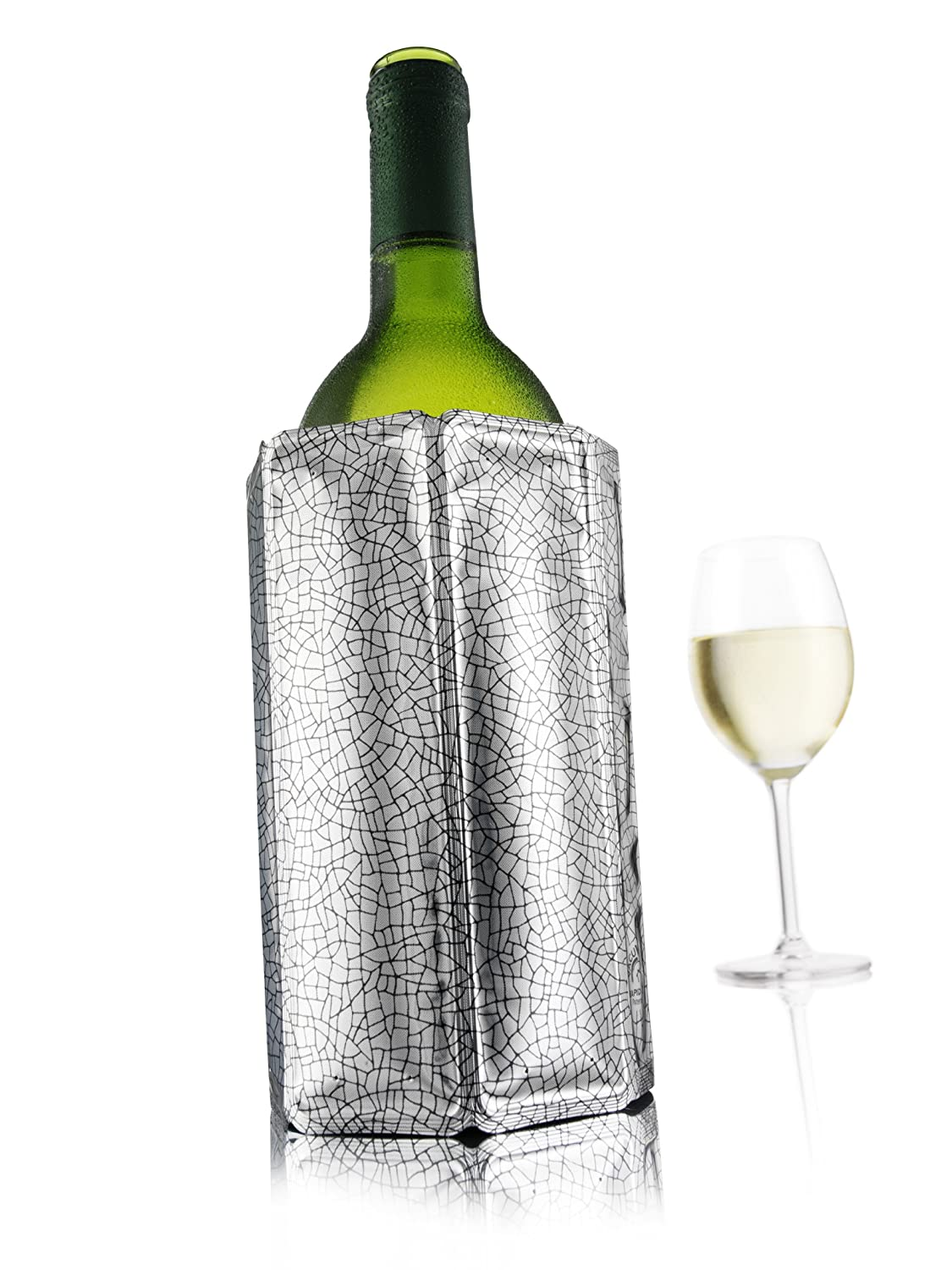 Vacu Vin 38803606 Rapid Ice Active Cooler Wine Bottle Chilling Sleeve Standard Silver