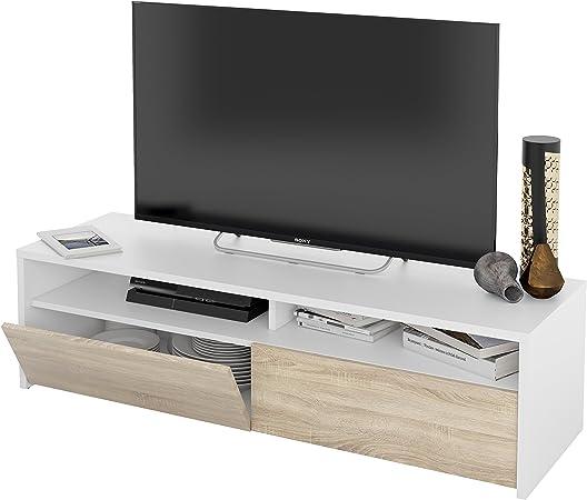 Habitdesign 0F6626A - Mueble de Salon, modulo de Comedor Kioto, Acabado Color Blanco Artik y Roble Canadian, Medidas: 130 x 35,5 x 40,2 cm de Fondo.: Amazon.es: Hogar