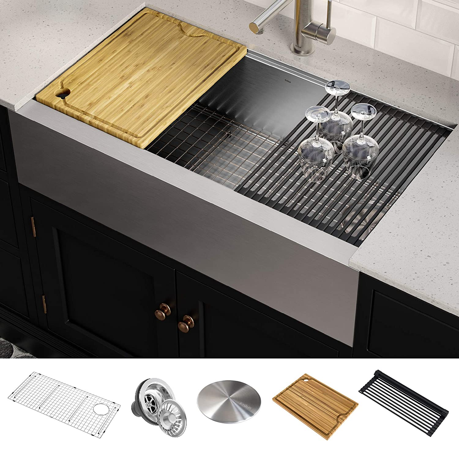KRAUS KWF410-36 Kore Workstation 36-inch Farmhouse Flat Apron Front 16 Gauge Single Bowl Stainless Steel Kitchen Sink with Integrated Ledge and Accessories (Pack of 5)