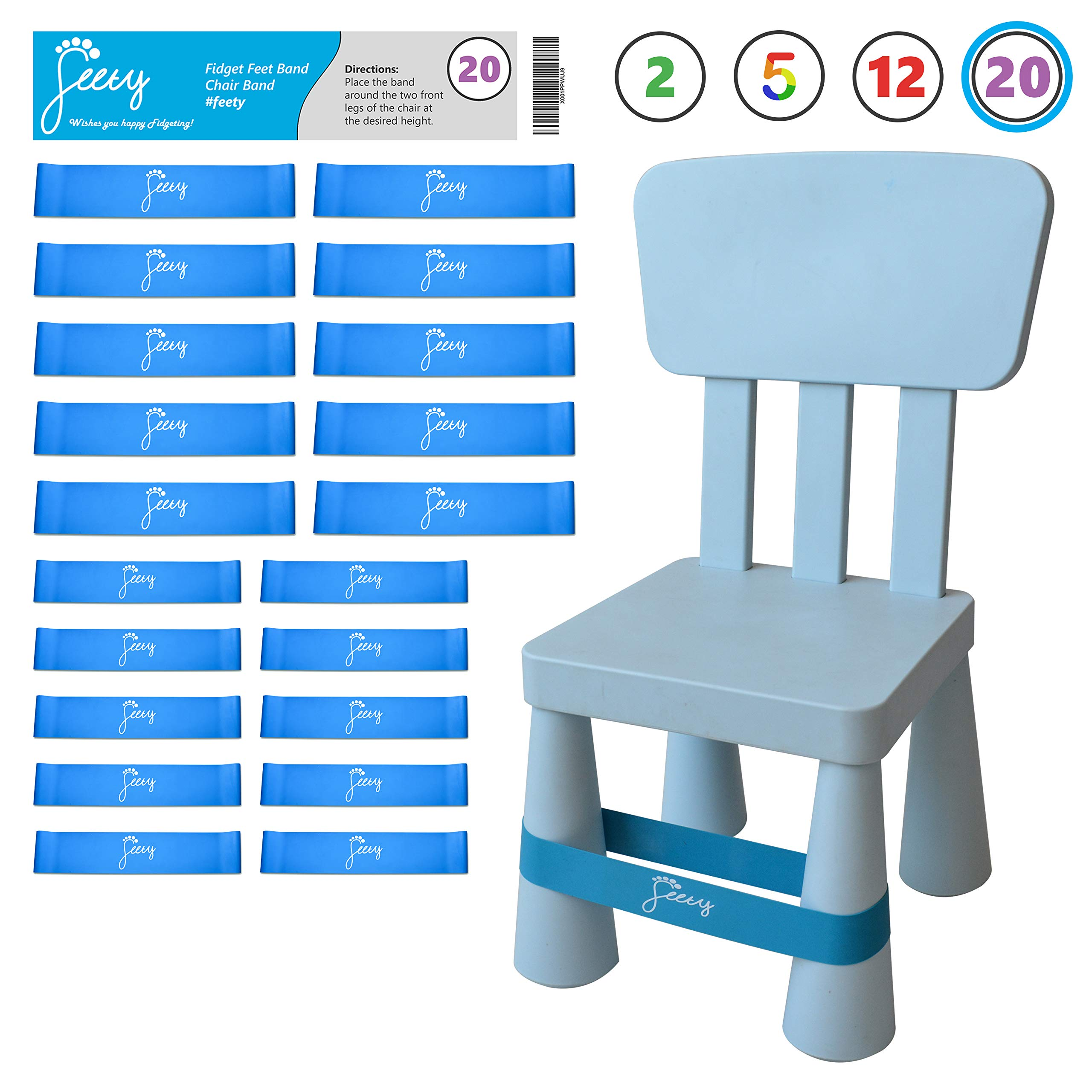 Chair Bands for ADHD Kids - (20-Pack) Bouncy Kick Fidgets for Elementary, Middle, High School Students and Adults for Classroom Chairs and Desk - (Light Blue) Fidget Feet Band by Feety by Feety Bands