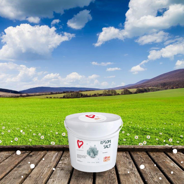 10kg - Living Earth - Sulfato de Magnesio (Sales de Epsom). Cubo de 10kg. Excelentes propiedades y beneficios para la salud y belleza.