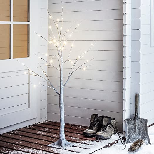 Lumino Pre-Lit Shabby Chic Deco Chalky Grey Twig Tree 180cm 6ft ...
