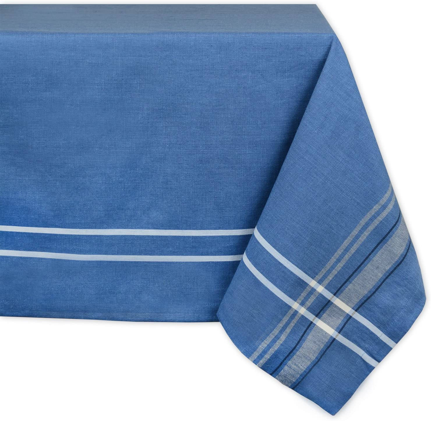 "DII 100% Cotton, Machine Washable, Everyday French Stripe Kitchen Tablecloth For Dinner Parties, Summer & Outdoor Picnics - 60x120"" Seats 10 to 12 People, Blue Chambray"