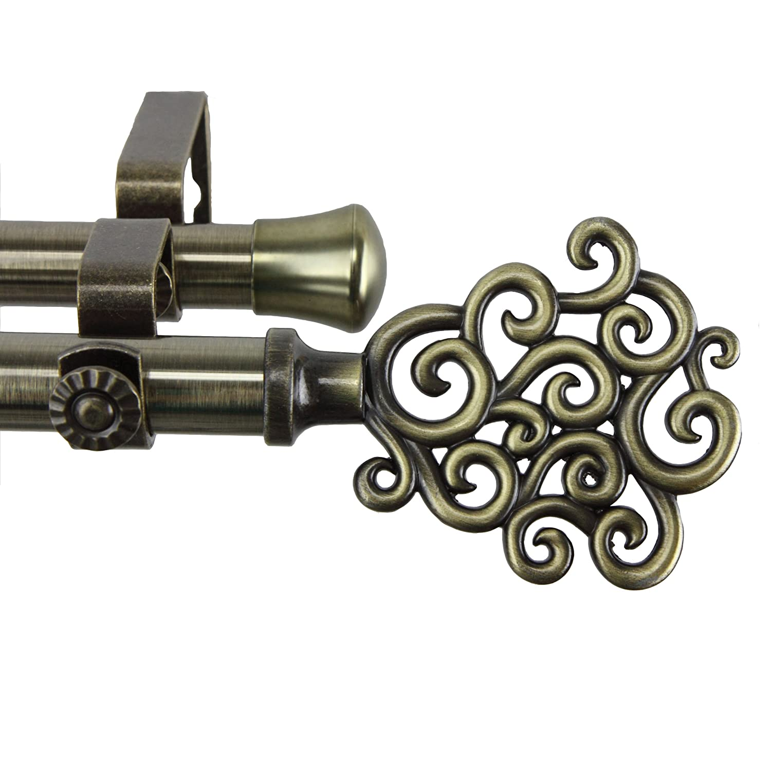 Tidal Double Curtain Rod 120-170 inch - Antique Brass 120-170-Inch アンティーク真鍮 B00ENGH6YU