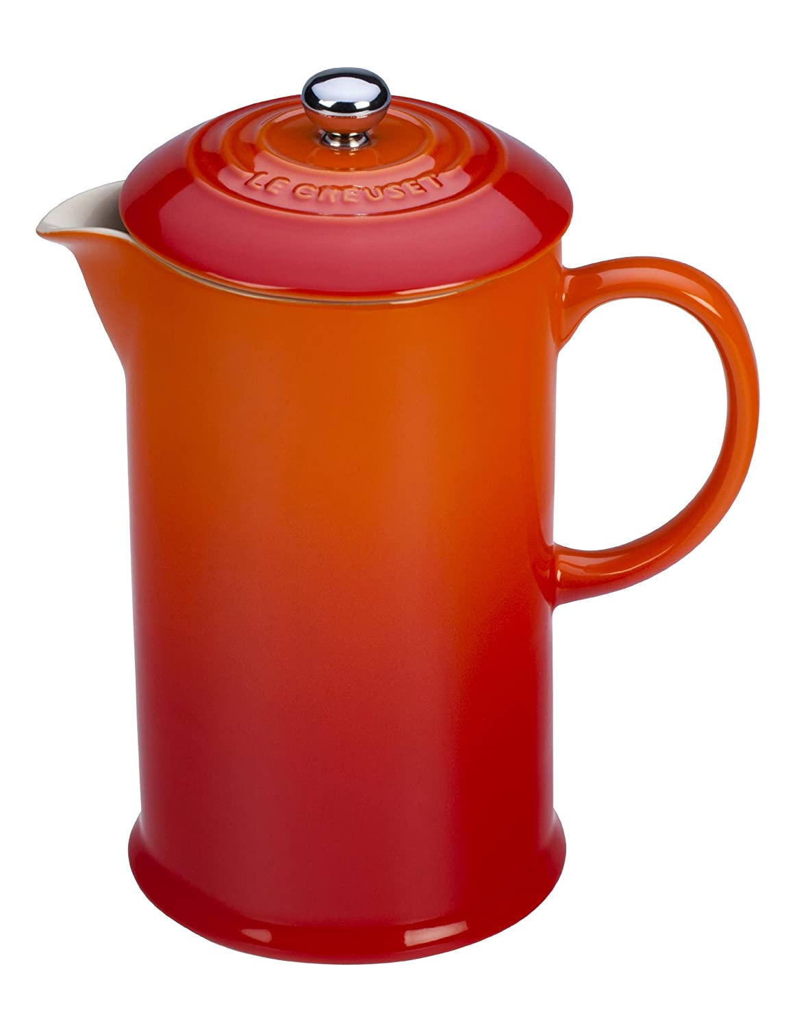 Le Creuset Stoneware 27-Ounce French Press, Flame