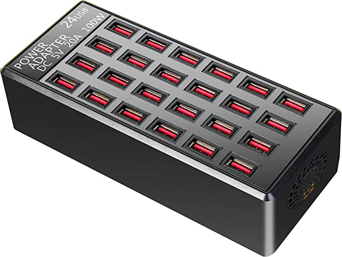 100w 24(20A) Port USB Fast Charging Station,Travel Desktop USB Rapid Charger,Multi Ports Charging Station Organizer Compatible with Smartphones,Tables, and More Devices,fit School,mall,Hotel,Shop
