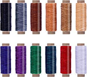 MIUSIE Assorted Color 12PCS 33 Yards Leather Sewing Waxed Thread-Practical Stitching Thread for Leather Craft DIY/Bookbinding/ Shoe Repairing/Leather Projects