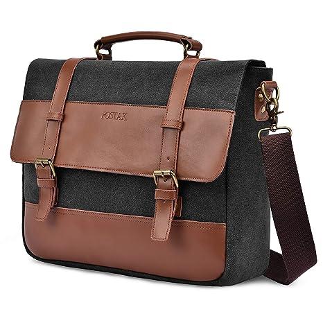 80da91747fc8 Mens Messenger Bag 15.6 Inch Laptop Shoulder Bag Vintage Canvas Large  Satchel Genuine Leather Business Briefcase