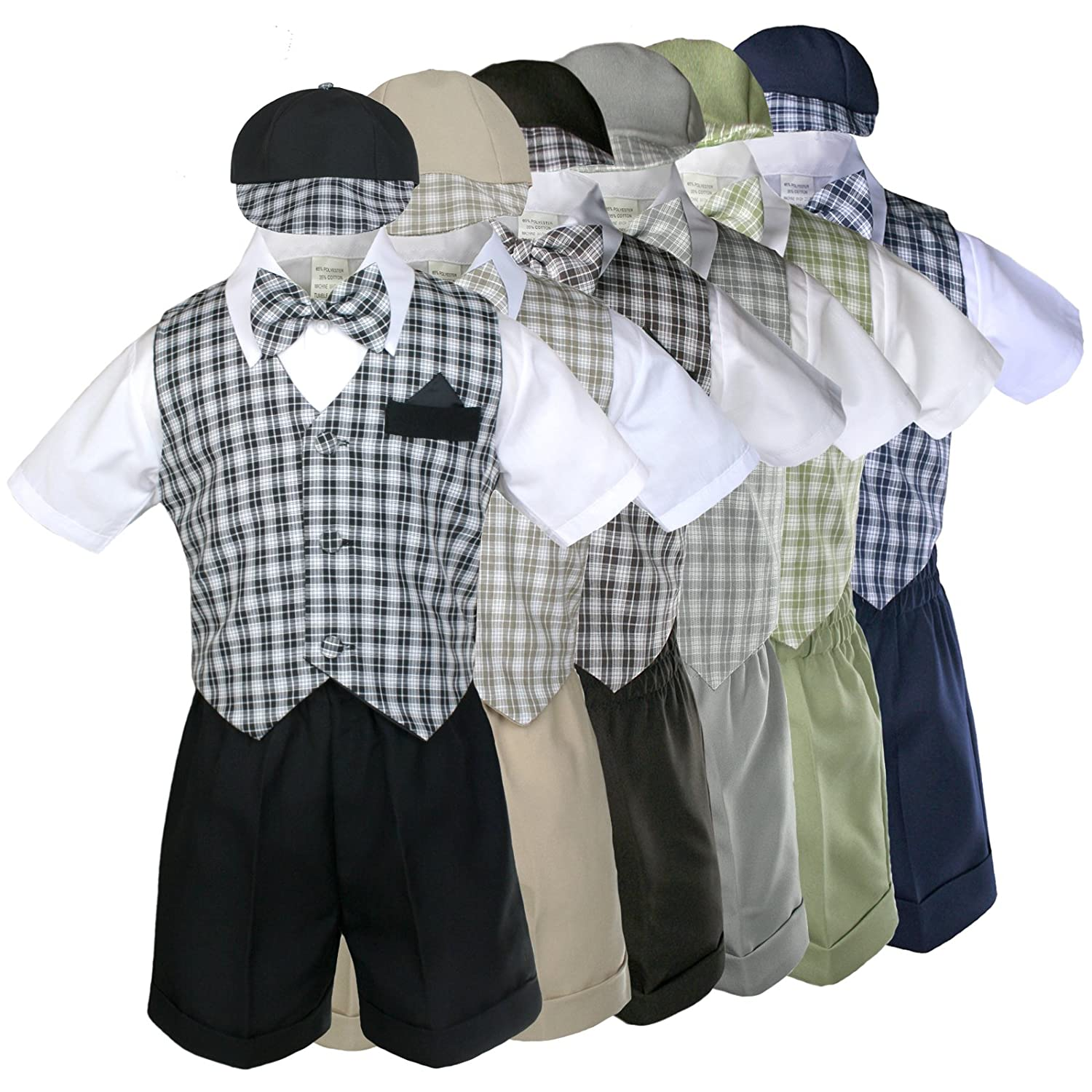 5pc Baby Toddler Boy checks Easter Gingham Wedding Gift Vest Set Suits Sz S-4T