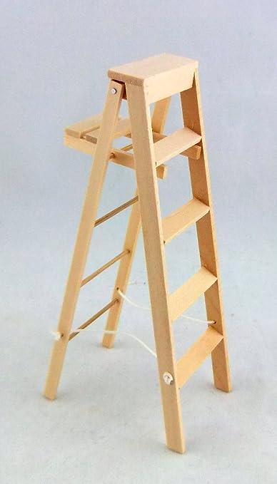 Amazon.es: Melody Jane Dolls Houses Accesorio Miniatura Casa De Muñecas Madera Natural de Alto Escaleras con Pintura Estante: Juguetes y juegos