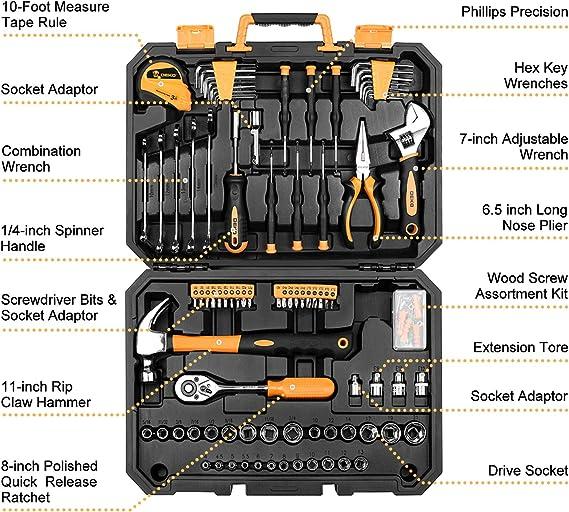 DEKO Juegos de Herramienta de 128 pieza Caja de Herramienta para Hogar,maletin de herramientas profesional para reparación de automóviles, con una caja de Plástico: Amazon.es: Bricolaje y herramientas