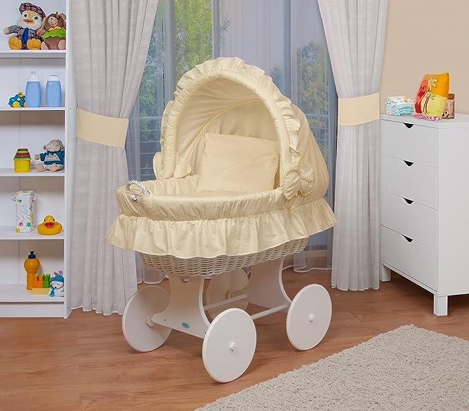 WALDIN Cuna Moisés, carretilla portabebés XXL, 6 modelos a elegir,Madera/ ruedas lacado,color textil beige: Amazon.es: Bebé