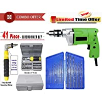 Shopper52 10mm Powerful Electric Drill Machine with 13Pcs Drill Bit Set and 41 Pcs Toolkit Screwdriver - DR13B41T