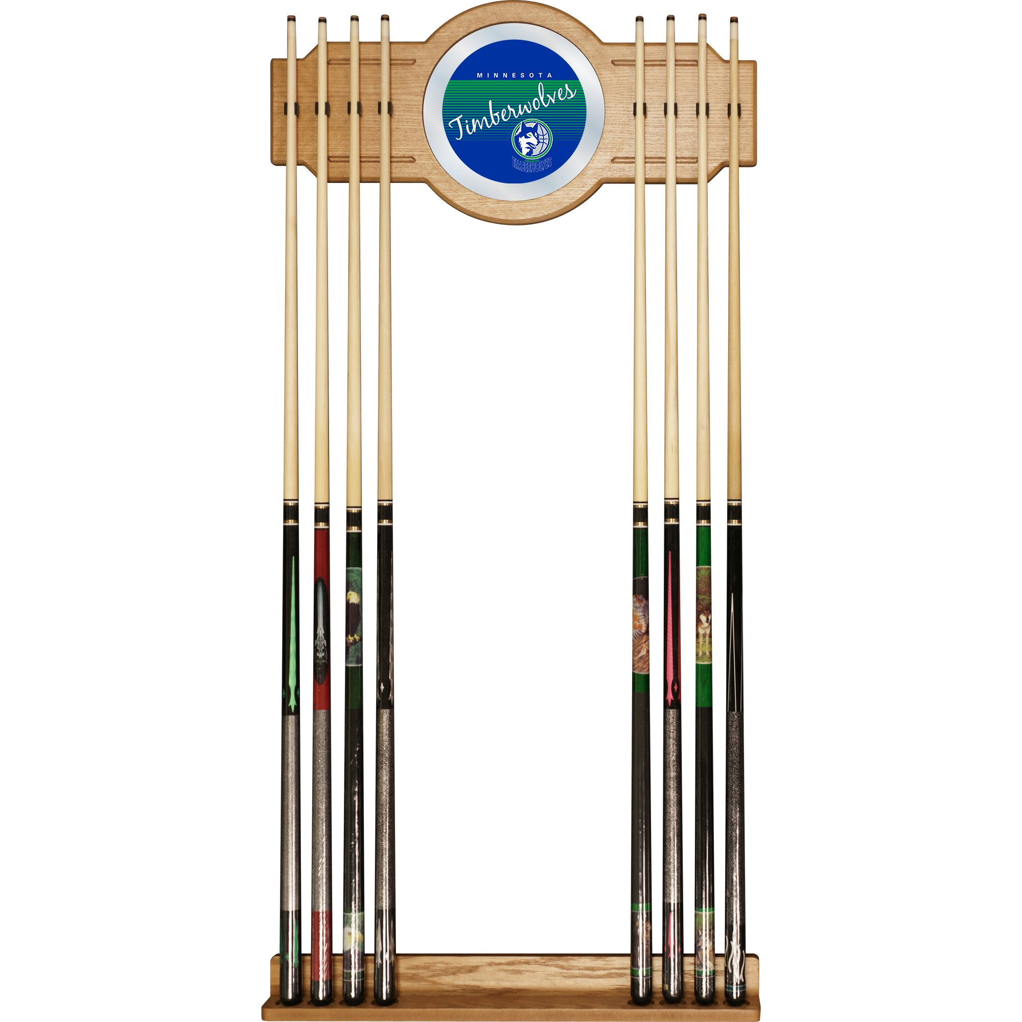 NBA Minnesota Timberwolves Cue Rack with Mirror, One Size, Brown