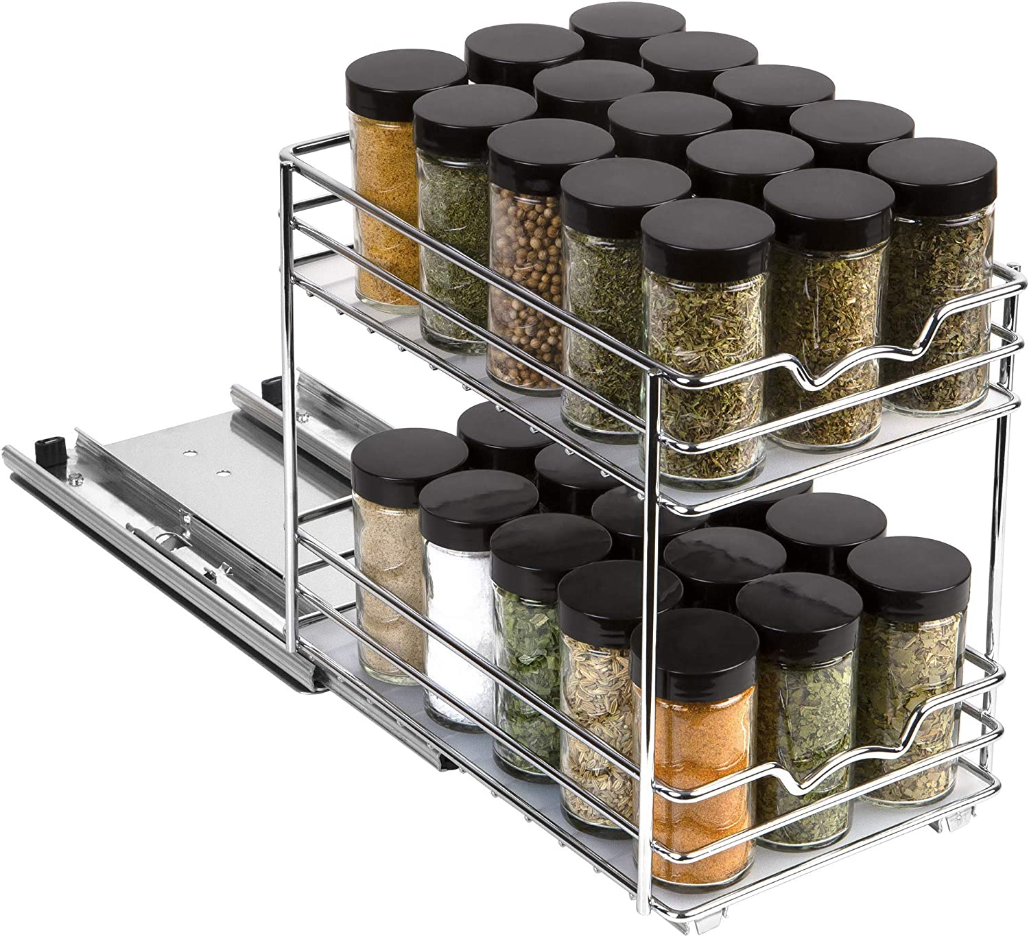 Pull Out Spice Rack Organizer for Cabinet – Heavy Duty Slide Out Double Rack 6 -3/8