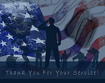 Amazon Com Thank You For Your Service Cards Usa American Flag