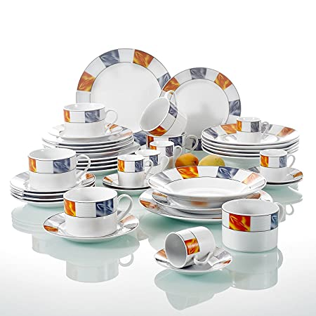 42-Piece White Porcelain Blue Orange Grid Floral Ceramic Dinner Combi-Set with Cups  sc 1 st  Amazon UK & 42-Piece White Porcelain Blue Orange Grid Floral Ceramic Dinner ...