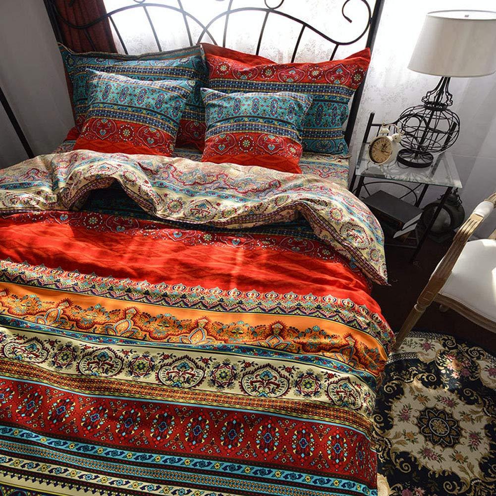 MAXYOYO Boho Style Duvet Cover Set Colorful Stripe Sheet Sets, 100% Sanded Cotton Bohemia Bedding Set Comforter Cover 3Pcs Boho Bedroom Decor Full Size