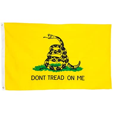 Gadsden Dont Tread On Me Flag, 3x5 ft - Embroidered Double Sided Banner - Strongest & Most Durable Colonial Flag for Long Lasting Display - Yellow & Black Coiled Rattle Snake Weather Proof Design