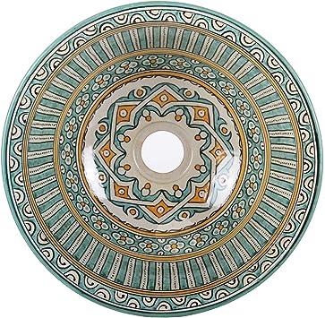 Fes111 Oriental Ceramic Wash Basin Diameter 35 Cm Colourful Round Moroccan Countertop Wash Basin Hand Painted For Kitchen Bathroom Guest Bathroom Simply Beautiful Living Amazon De Baumarkt
