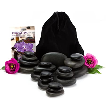2d77a8228b7ed4 PUROVI Spa Hot stones for massage   20 natural stones in a velvet bag    Basalt stones   Wellness Package  Amazon.co.uk  Kitchen   Home