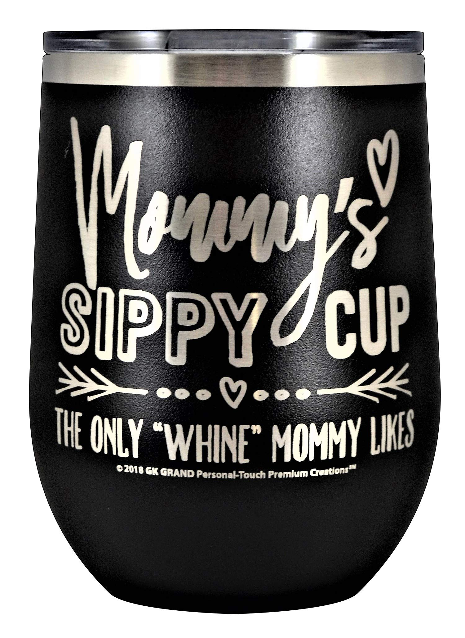 MOMMYS SIPPY CUP WINE GLASS GIFT TUMBLER – Engraved Stainless Steel Stemless Wine Tumbler 12 oz Vacuum Insulated Travel Coffee Mug Hot Cold Drink Mothers Day Christmas Birthday Mom (Black)