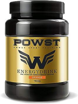 Bebida energética en polvo pre entreno, suplemento de hidratos de carbono rico en aminoacidos 1,1Kg (Sabor Naranja) POWST
