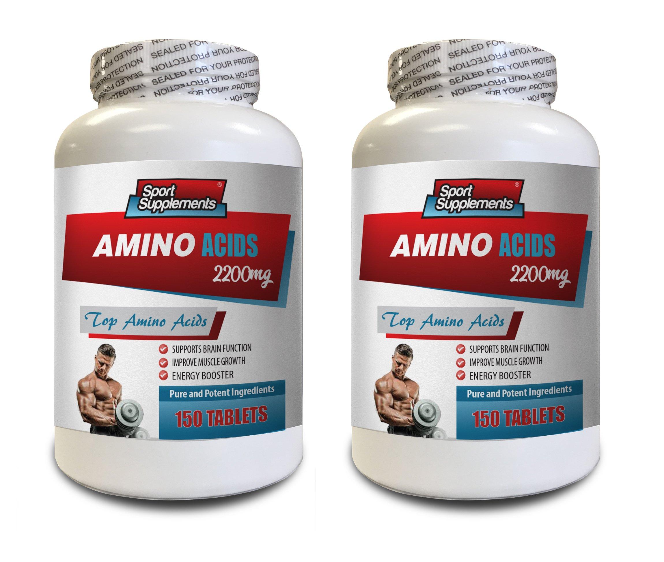 Muscle Pump Supplements - TOP Amino Acids 2200 mg - Amino Acids Bodybuilding - 2 Bottles 300 Tablets