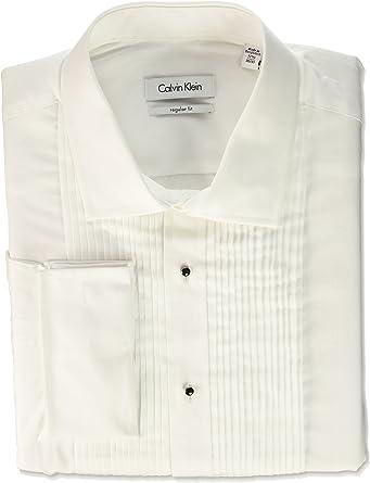 Calvin Klein Hombre 33X0002 Cuello Tipo Italiano Camisa de Vestir - Blanco - 37 cm Cuello 81 cm- 84 cm Manga: Amazon.es: Ropa y accesorios