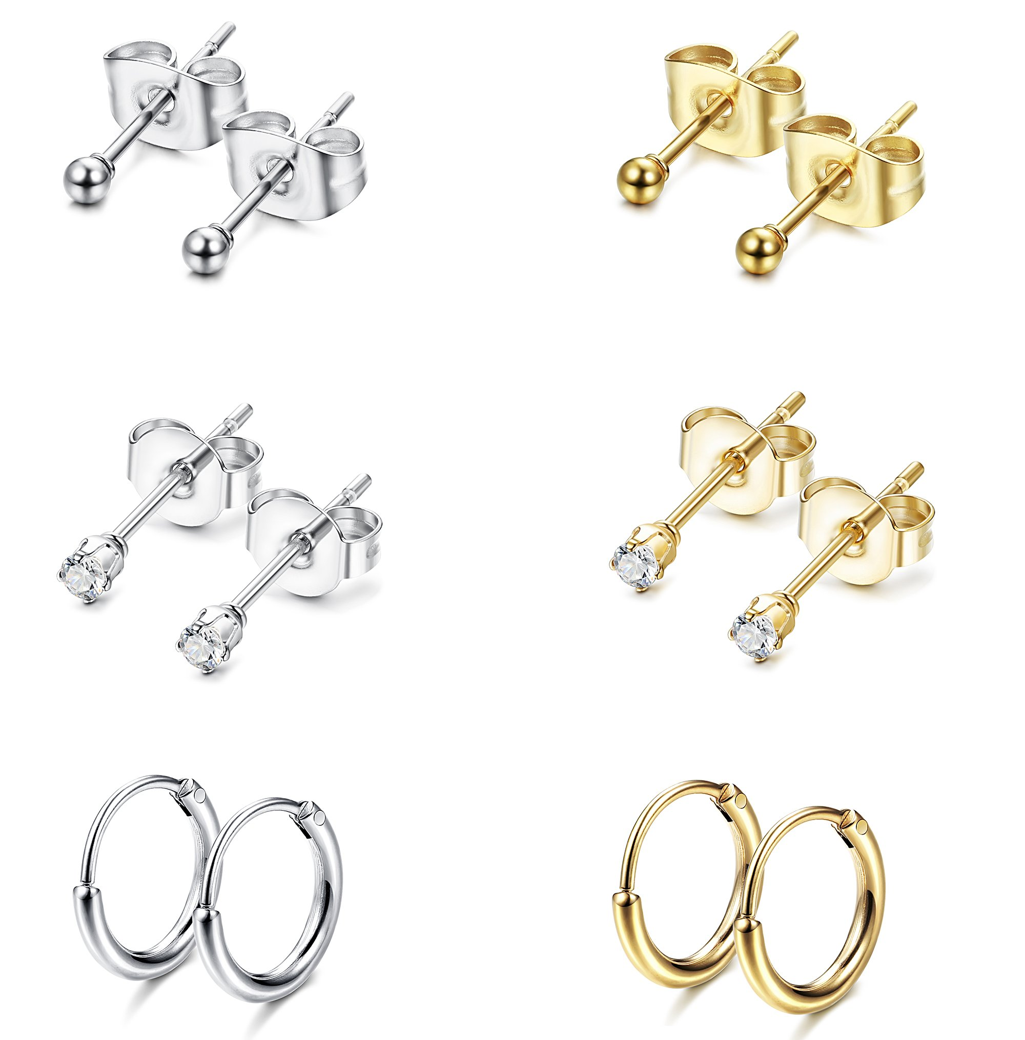 Jstyle Stainless Steel 2mm Tiny Stud Earrings for Women Mens Endless Hoops CZ Balls Cartilage Earrings Set Silver Gold