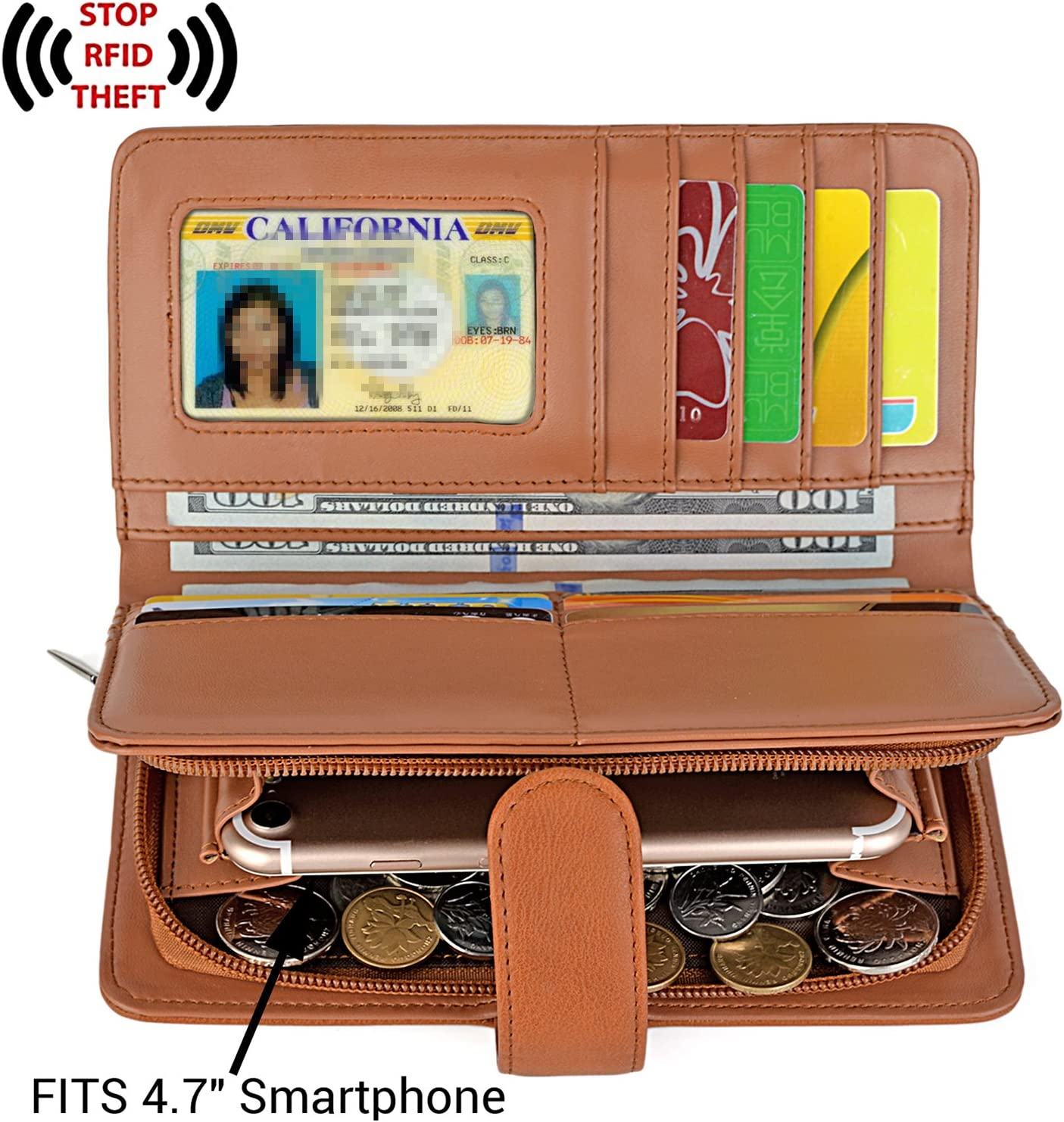 UTO Portafoglio Donna decorazione Cerniera Grandi Capacit/à Si pu/ò mettere 15 Carte RFID Blocco in Pelle Sintetica con Chiusura a Bottone