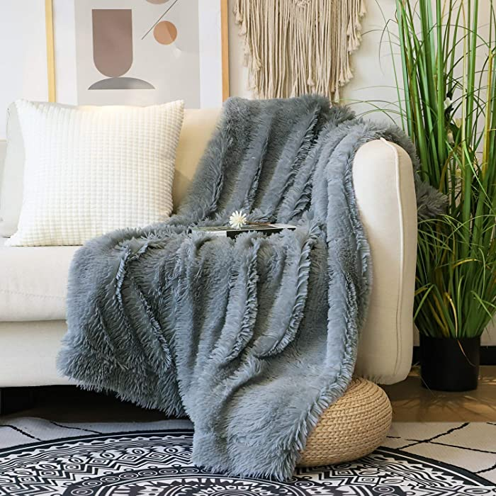 """Decorative Extra Soft Faux Fur Throw Blanket 50"""" x 60"""",Solid Lightweight Fuzzy Reversible Long Hair Shaggy Blanket,Fluffy Cozy Plush Mink Fleece Microfiber Fur Blanket for Couch Sofa Bed,Light Gray"""