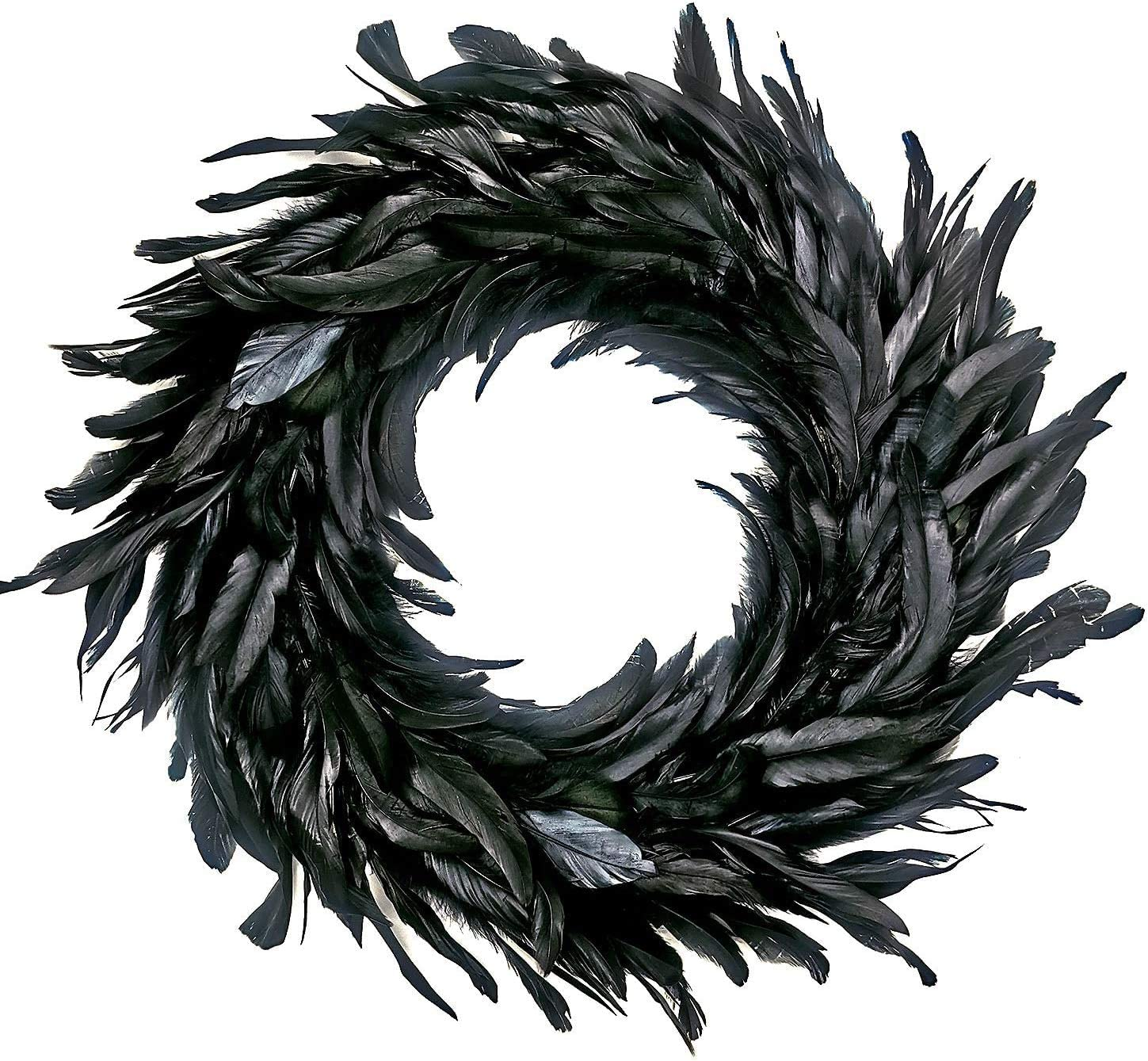 MOVINPE Halloween Wreath 14.8'' Black Natural Cocktail Feather Wreath, Halloween Photo Props, Front Door Decor Witch Spooky Scene Party Halloween Decorations