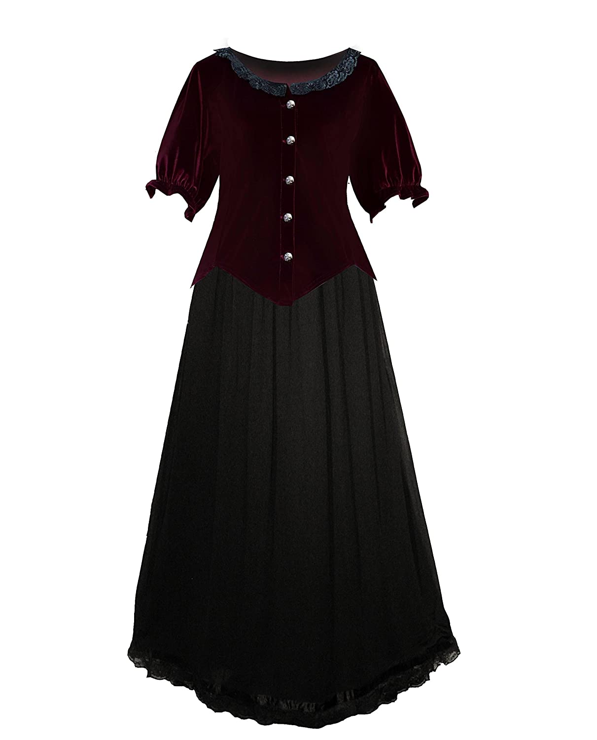Plus Size Vintage Dresses, Plus Size Retro Dresses Victorian Steampunk Gothic Renaissance Velvet Top & Long Skirt $89.00 AT vintagedancer.com