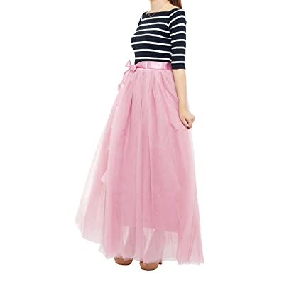 7 Layered Women's Eelastic Waist Tulle Tutu Skirts A-Line Floor Length Prom Evening Gown Dress Up (Free Size, Manve Pink) at Women's Clothing store