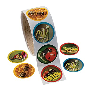 """Fun Express Realistic Bug & Insect Stickers (100 Stickers Per Roll) 1.5"""" Stickers, Classroom Incentives, Scrapbooking, Arts & Crafts: Toys & Games"""