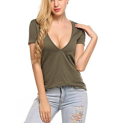 Beyove Women's Deep V T-Shirt Summer Short Sleeve Loose Casual Tee at Women's Clothing store