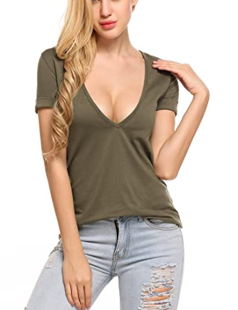 65fc3c97994 Beyove Women's Deep V T-Shirt Summer Short Sleeve Loose Casual Tee Shirt  Army Green