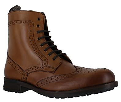 6320176c Catesby Mens Leather Lace Up Style Formal Zip Chelsea Brogue Boots: UK 12