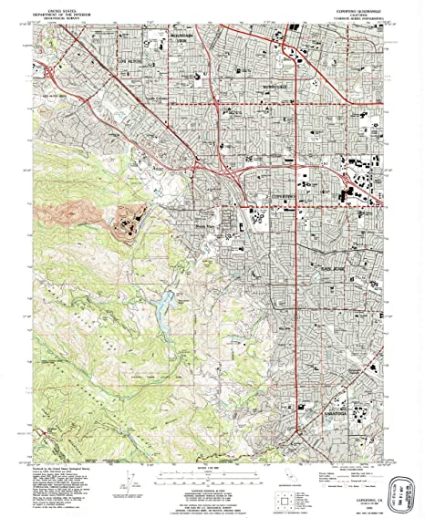 Amazon Com Yellowmaps Cupertino Ca Topo Map 1 24000 Scale 7 5 X