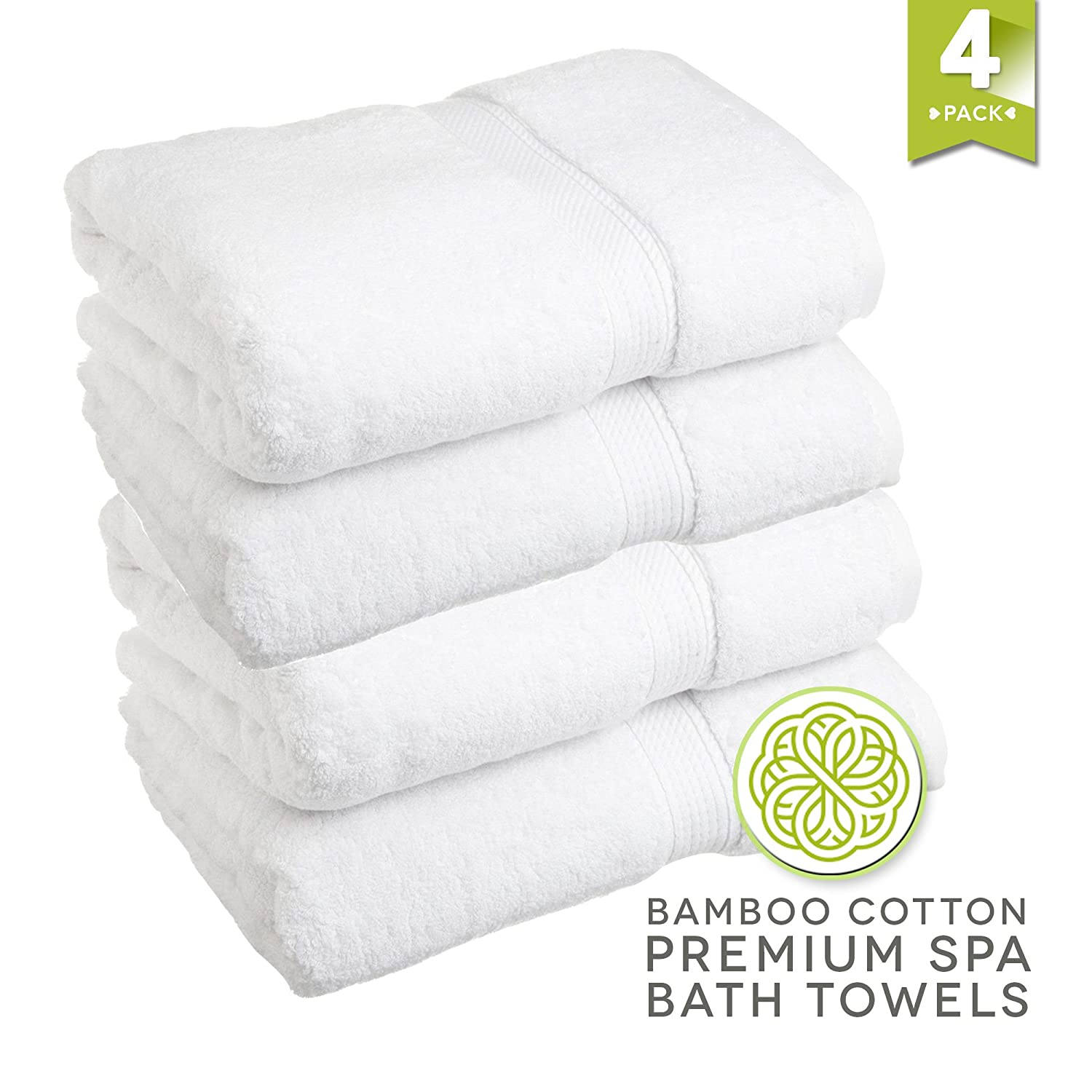 LionFinch Premium Bamboo Cotton Towels- Set of 4. Super Soft Absorbent Plus Mold Mildew Resistant. 54 inches Long 27 inches Wide. Easy to Wash Dry.